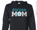 SOCCER MOM Glittery Midweight Hooded Sweatshirt