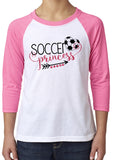 SOCCER PRINCESS Glittery Youth Blend Raglan