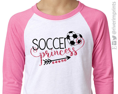 SOCCER PRINCESS, glitter youth raglan