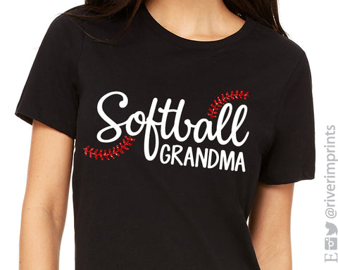 SOFTBALL GRANDMA Glitter Triblend Tee by River Imprints