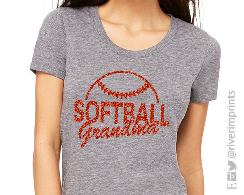 SOFTBALL GRANDMA Glittery Cotton Tee River Imprints