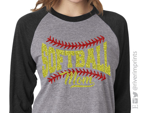Softball Mom Glittery Triblend Raglan