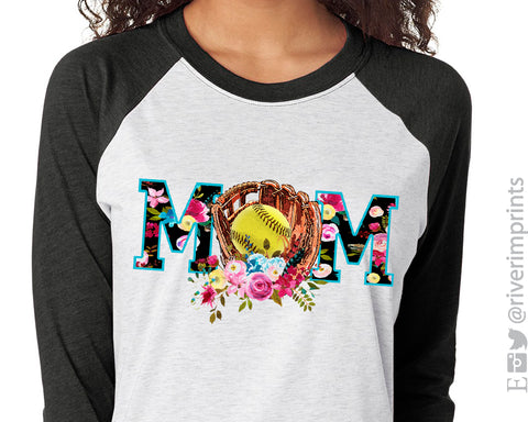 SOFTBALL MOM Triblend Sublimation Raglan