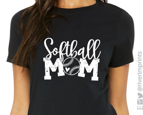 SOFTBALL MOM Triblend Distressed Graphic Tee by River Imprints