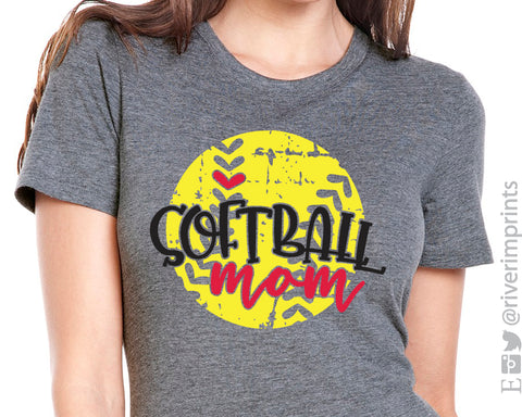 SOFTBALL MOM Distressed Triblend Graphic Tee