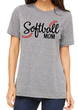 SOFTBALL MOM Glitter Triblend T-shirt by River Imprints