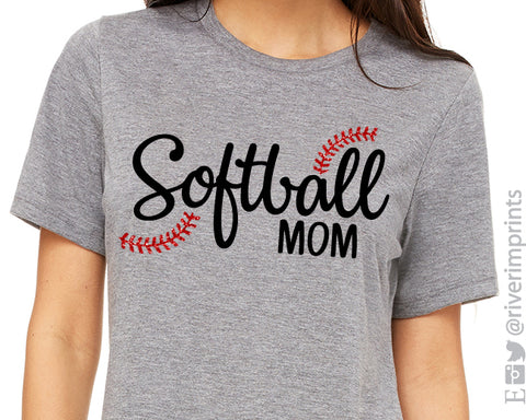 SOFTBALL MOM Glitter Triblend Tee by River Imprints