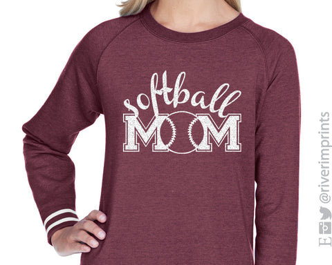 SOFTBALL MOM Glitter Womens Crewneck Accent Striped Sweatshirt