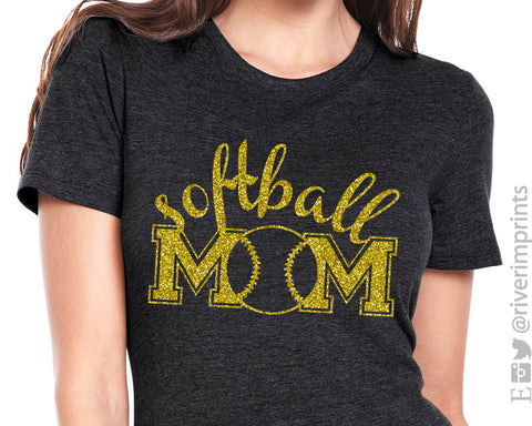 SOFTBALL MOM cursive, shiny glitter t-shirt