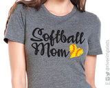 SOFTBALL MOM Triblend Graphic Tee by River Imprints