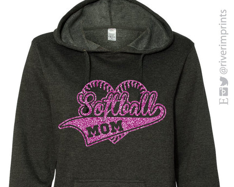 Softball Mom Heart Glittery Lightweight Hooded Sweatshirt