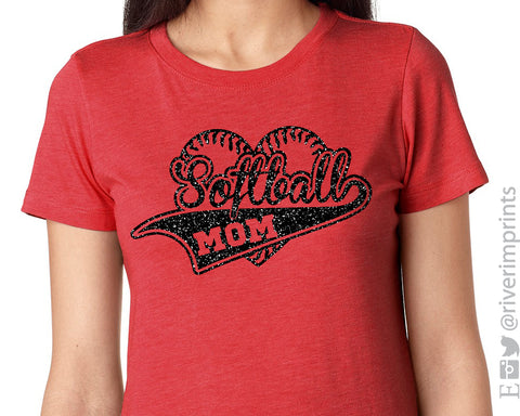 SOFTBALL MOM heart stitches glitter t-shirt
