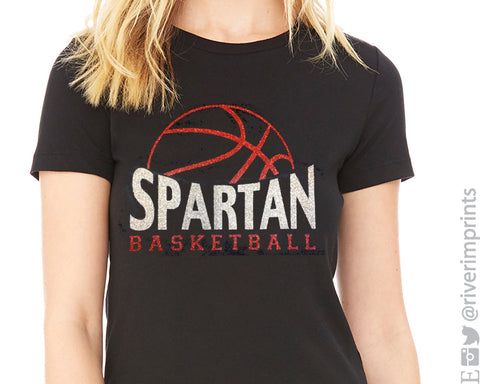 SPARTAN BASKETBALL Glittery Cotton Tee River Imprints