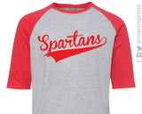 SPARTANS Youth Spartan School Mascot Blend Raglan Shirt
