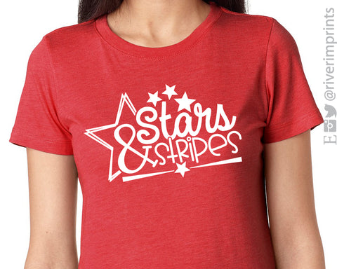 STARS & STRIPES Graphic Triblend Tee by River Imprints