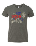 STARS STRIPES SPARKLERS Glittery Youth Tee