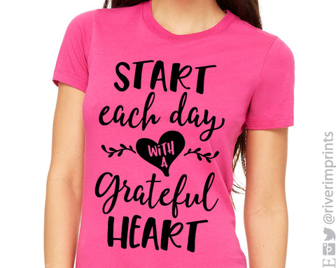 START EACH DAY WITH A GRATEFUL HEART Graphic Triblend Tee by River Imprints