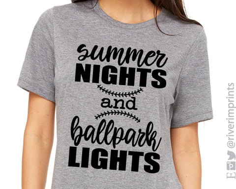 SUMMER NIGHTS AND BALLPARK LIGHTS Graphic Triblend Tee