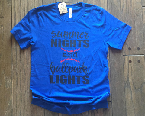 SALE - SUMMER NIGHTS & BALLPARK LIGHTS Triblend Tee Shirt