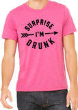 SURPRISE I'M DRUNK Graphic Triblend T-shirt by River Imprints