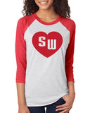 SW Heart Womens Cardinal School Mascot Blend Raglan Shirt
