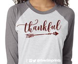 THANKFUL Glittery Triblend Raglan by River Imprints