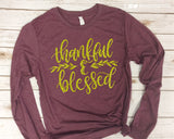 Thankful & Blessed Glittery Long Sleeve Triblend Tee