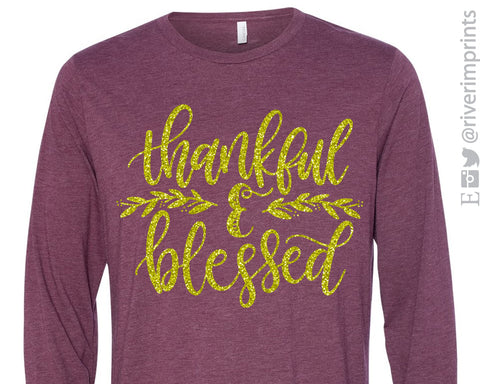Thankful & Blessed Glittery Long Sleeve Unisex Triblend Tee