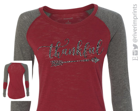 THANKFUL Glittery Patched Elbow Blend Raglan