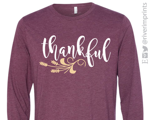 THANKFUL with Wheat Detail Long Sleeve Triblend Tee