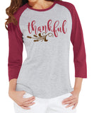 THANKFUL with Wheat Detail Raglan Tee