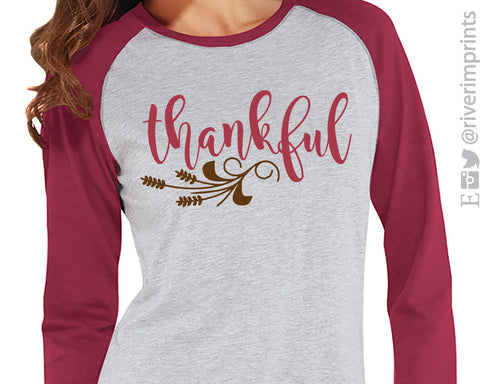 THANKFUL with Wheat Detail Blend Raglan