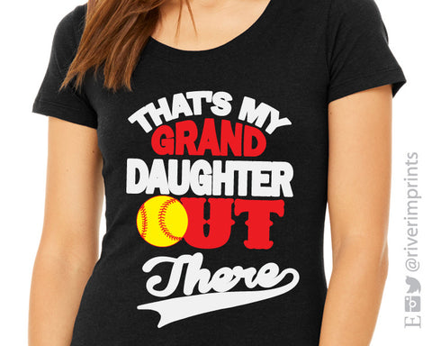 THAT'S MY GRAND DAUGHTER OUT THERE Softball Triblend Tee by River Imprints