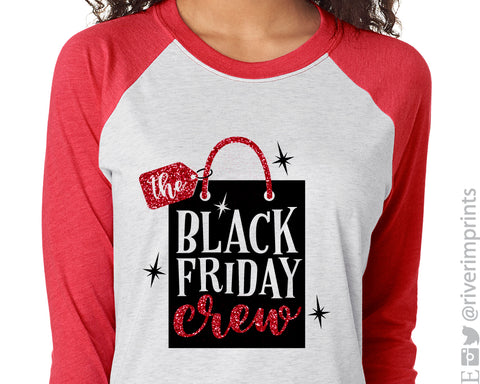 THE BLACK FRIDAY CREW Triblend Raglan by River Imprints