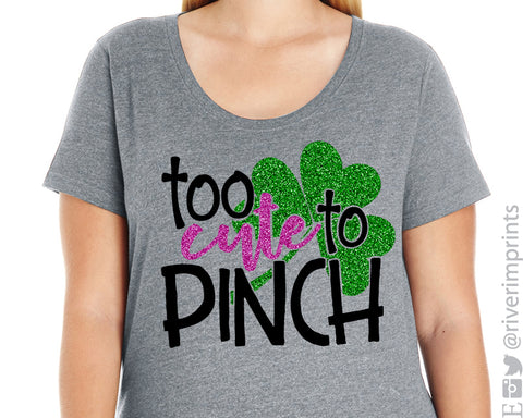 TOO CUTE TO PINCH Glittery Curvy Collection Women's Scoopneck Tee