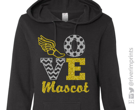LOVE TRACK & FIELD Personalized Glittery Midweight Hooded Sweatshirt by River Imprints