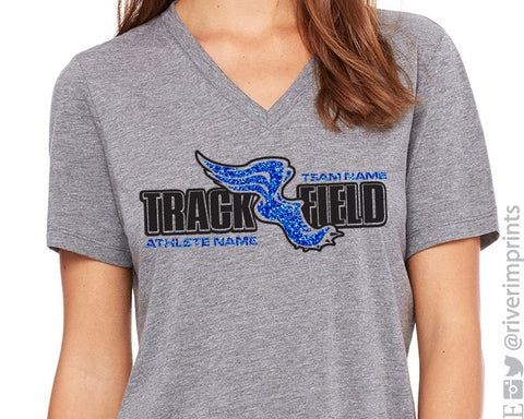 Track & Field Personalized Glitter Vneck Triblend Tee by River Imprints