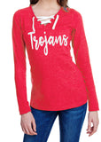 TROJANS Womens Glitter Long Sleeve Shirt Lace Up V-neck Blend Tee Ladies Trojan School Mascot Glittery Vneck Tee Shirt