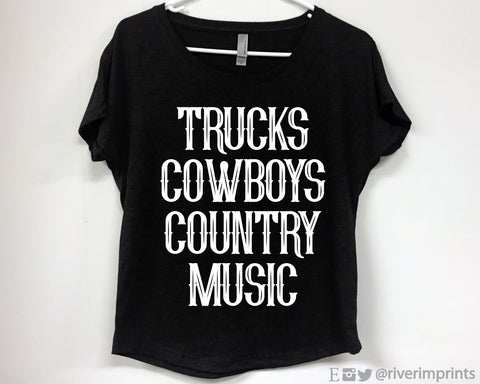 TRUCKS COWBOYS COUNTRY MUSIC Triblend Dolman by River Imprints