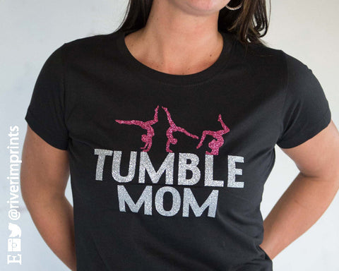 SALE - TUMBLE MOM, 2-color glittery semi-fitted sparkle tee shirt
