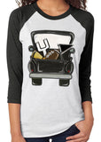 VINTAGE BLACK TRUCK FOOTBALL Sublimated Triblend Raglan Tee by River Imprints