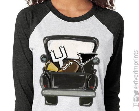 VINTAGE BLACK TRUCK FOOTBALL Sublimated Triblend Raglan by River Imprints