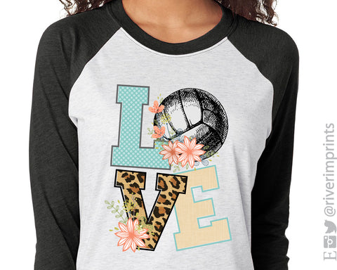 VOLLEYBALL LOVE Sublimated Triblend Raglan by River Imprints