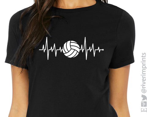 VOLLEYBALL HEARTBEAT Graphic Triblend Tee by River Imprints