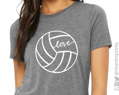 VOLLEYBALL LOVE Graphic Triblend Tee by River Imprints
