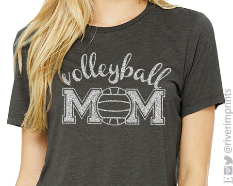 VOLLEYBALL MOM Glittery Cotton Tee River Imprints