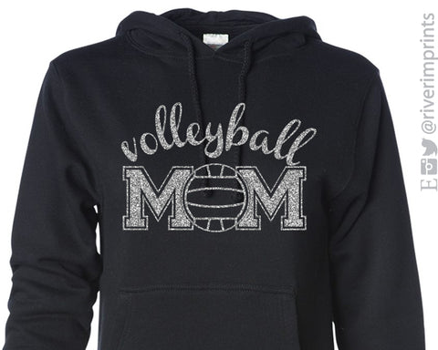 VOLLEYBALL MOM Glittery Midweight Hooded Sweatshirt