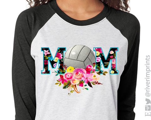 VOLLEYBALL MOM Sublimated Triblend Raglan by River Imprints