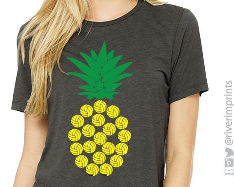 VOLLEYBALL PINEAPPLE Graphic Triblend Tee by River Imprints