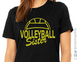 VOLLEYBALL SISTER Glittery Cotton Tee River Imprints